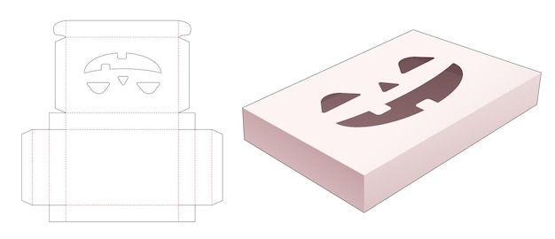 Tin box with stenciled halloween pattern die cut template