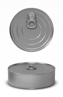Tin can fish or pet food mockup with pull ring top and front view