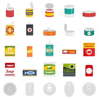 Tin can food package jar icons set