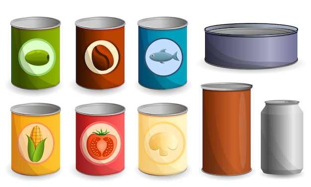 Tin can icon set, cartoon style