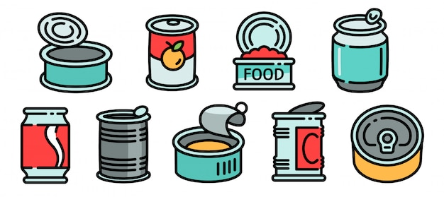 Tin can icons set, outline style