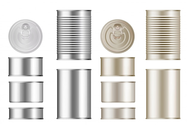 Tin can set. isolated blank canned food metal container