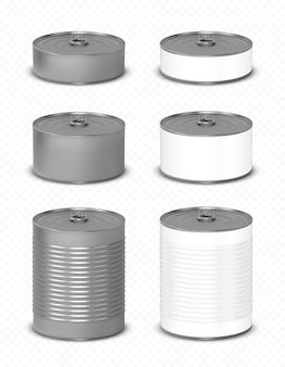 側面図でプルリング付きのブリキ缶セット