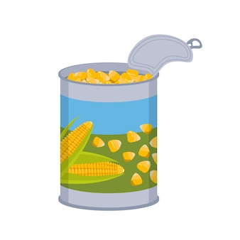 Tin can with corn kernels. tin packaging
