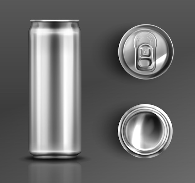 Tin can with open key front, top and bottom view set.