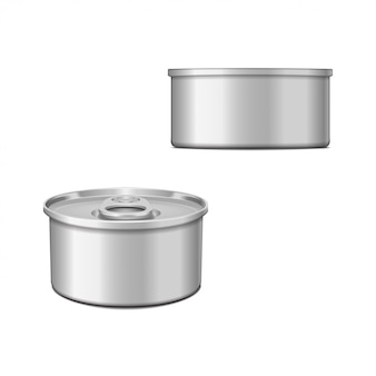 Tin can with opener. packaging template set.