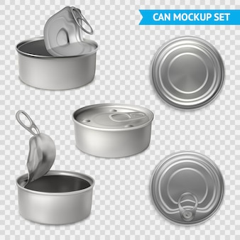 Tin cans transparent set