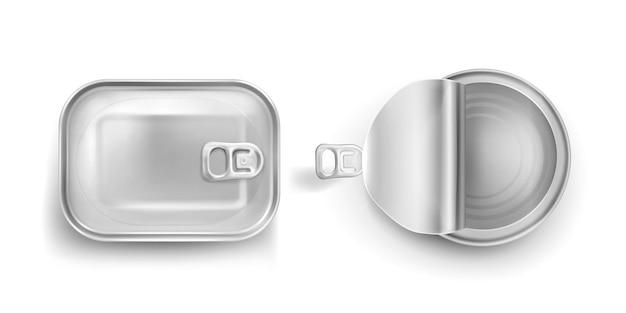 풀 링 모형 평면도가있는 깡통. 닫히고 열린 뚜껑, 알루미늄 직사각형 및 둥근 통조림 금속 항아리는 흰색 배경, 현실적인 3d 벡터 아이콘에 고립 된 용기를 보존