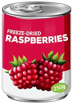 A tin of freeze dried raspberries