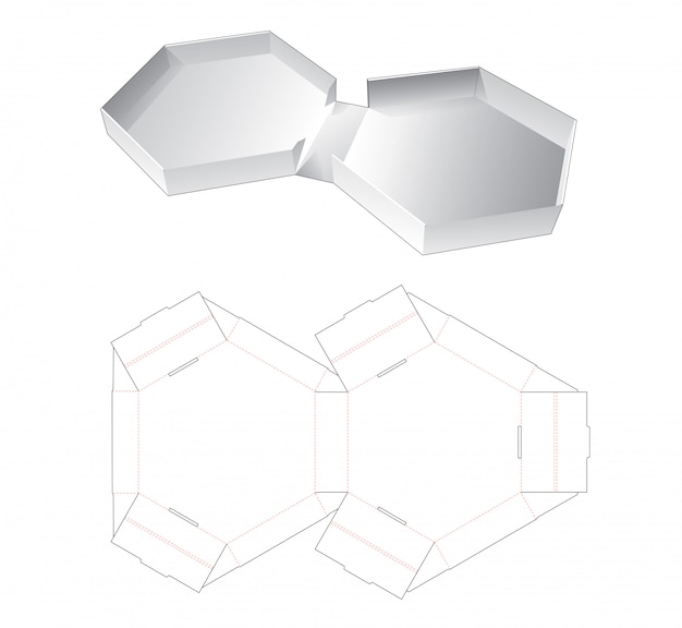Tin hexagonal packaging box die cut template