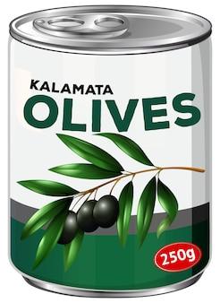A tin of kalamata olives
