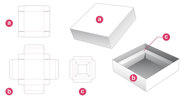 Tin packaging box and lid with insert supporter die cut template