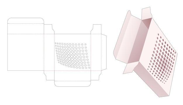 스텐실 하프 톤 도트 다이 컷 템플릿이있는 주석 사각형 상자