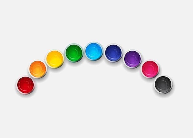 Банки с гуашью, набор акриловых красок в цветах радуги.