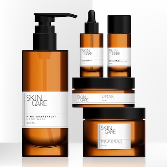Tinted brown glass or plastic jar, pump bottle, dropper bottle package set with minimalist wrap around label design