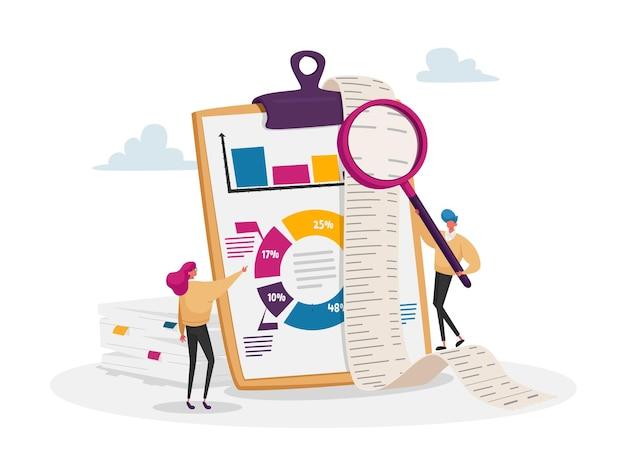 Tiny accountant characters make accountant report check money balance