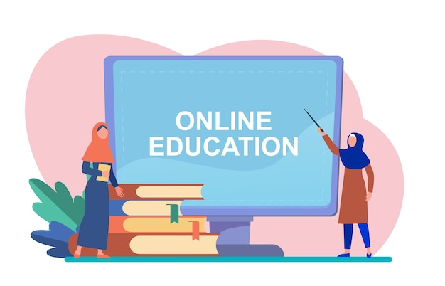 Tiny arabian woman learning via computer. book, student, internet flat vector illustration. study and online education