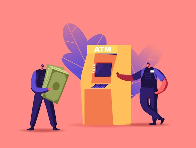 Tiny armed cash-in-transit guard characters collecting money from huge atm in bank
