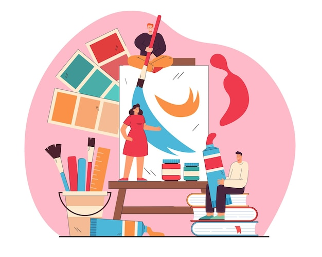 Tiny artists drawing or painting on big canvas flat illustration