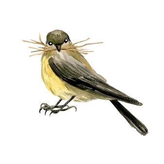 くちばしに干し草が入った小さな鳥、手描きの水彩イラスト