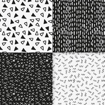 Tiny black and white shapes seamless pattern template
