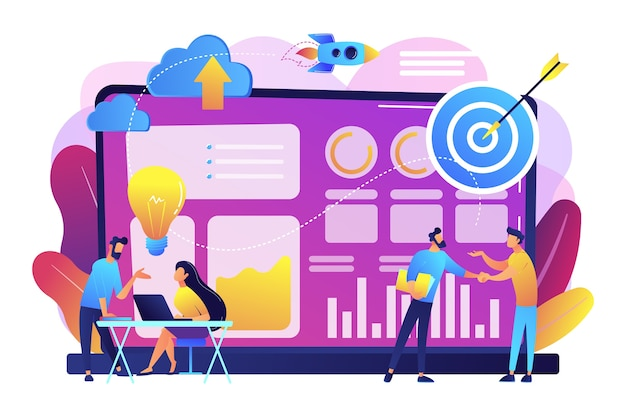 Tiny business analysts discussing ideas at laptop with data. data initiative, occupation in metadata study, data driven startup concept. bright vibrant violet  isolated illustration