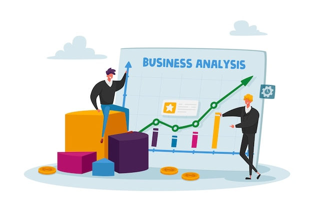 거대한 분석 그래프를 둘러싼 작은 비즈니스 캐릭터