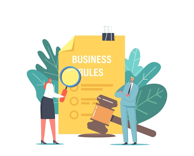 Tiny business characters studying code of conduct on huge paper. office people working on company ethical integrity document. business rules, ethics and values of firm. cartoon vector illustration