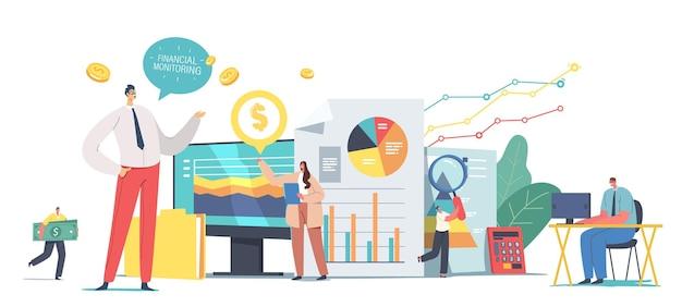 巨大なダッシュボードでデータを分析し、財務監視レポートを調査する小さなビジネスキャラクターチーム。金融投資実績結果、ワーキングミーティング。漫画の人々のベクトル図