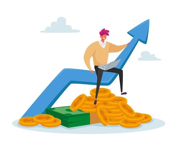 カジュアルな服装の小さなビジネスマンは、巨大な成長する矢印の上に座ってラップトップに取り組んでいます