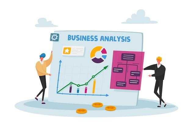 거대한 통계 차트에서 작은 비즈니스 사람들 캐릭터