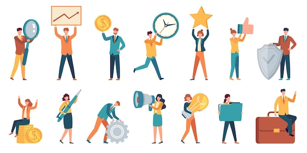 Tiny business people. employee women and men with big money, light bulb, star, gear and magnifier. office small work characters vector set. illustration people success with money and star