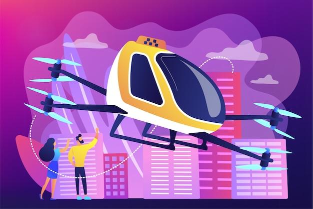 Крошечные деловые люди едут в поездку на воздушном такси по городу. воздушное такси, воздушная платформа для вызова, концепция развития летающего транспорта.
