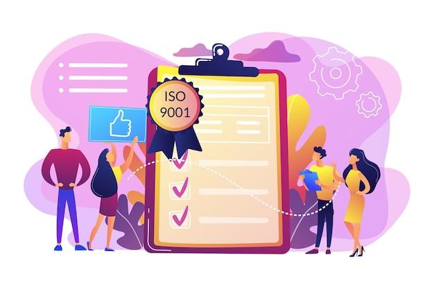 품질 관리를위한 표준을 좋아하는 소규모 비즈니스맨. 품질 관리 표준, iso 9001 표준, 국제 인증 개념.