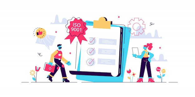 Tiny business people like standard for quality control. standard for quality control, iso 9001 standard, international certification concept. bright vibrant violet isolated illustration