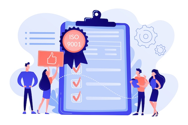 Tiny business people like standard for quality control. standard for quality control, iso 9001 standard, international certification concept illustration