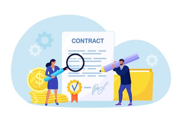 계약 문서 근처에 서 있는 작은 비즈니스 사람들, 개인 정보 보호 정책, 이용 약관을 읽고 있습니다. 사업가 서명 계약. 계약 확인. 성공적인 파트너십, 협력.