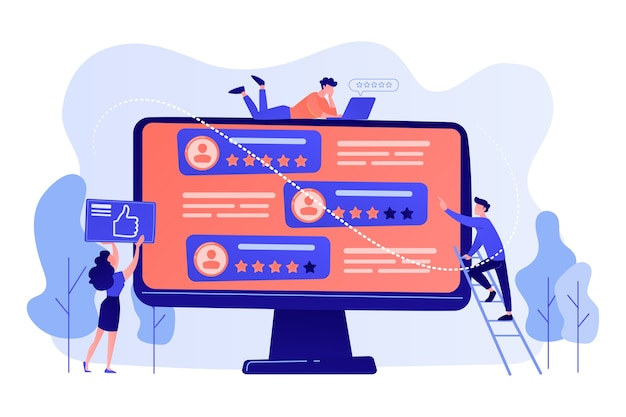 コンピュータ画面上の人々に投票するために評価サイトを使用している小さなビジネスマン。レーティングサイト、プロランクサイト、コンテンツレーティングページコンセプトイラスト