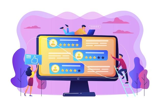 평가 사이트를 사용하여 컴퓨터 화면에서 사람들에게 투표하는 작은 비즈니스 사람들. 등급 사이트, 전문 등급 사이트, 콘텐츠 등급 페이지 개념.