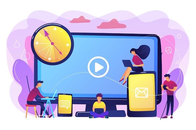 デジタルデバイスの画面と時計で見ている小さなビジネスマン。画面中毒、デジタル過負荷、情報過負荷の影響の概念。明るく鮮やかな紫の孤立したイラスト