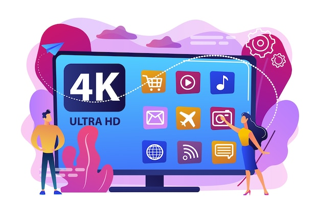 Tiny business people watching modern ultra hd smart television. uhd smart tv, ultra high definition, 4k 8k display technology concept. bright vibrant violet  isolated illustration