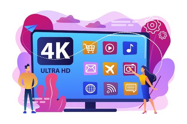 Крошечные деловые люди смотрят современное умное телевидение ultra hd. uhd smart tv, сверхвысокое разрешение, концепция технологии отображения 4k 8k. яркие яркие фиолетовые изолированные иллюстрации