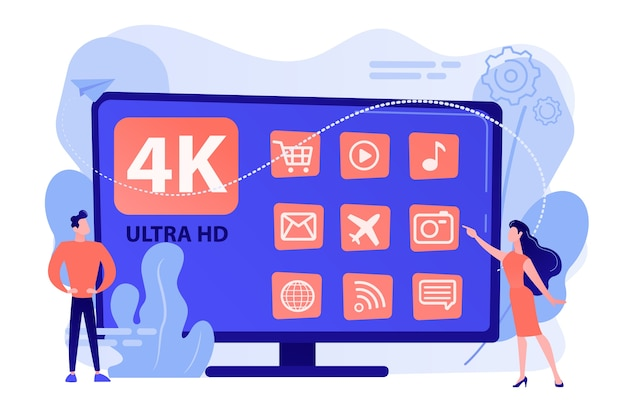 Крошечные деловые люди смотрят современное умное телевидение ultra hd. умный телевизор uhd, сверхвысокое разрешение, концепция технологии отображения 4k 8k