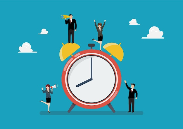 Tiny business people with alarm clock. vector illustration business concept
