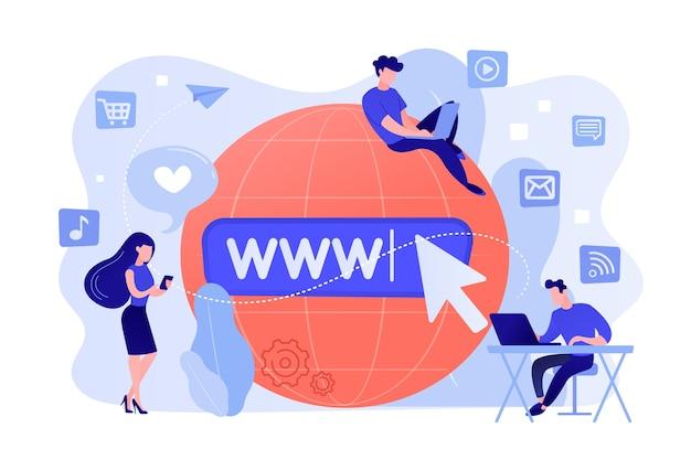 인터넷을 서핑하는 큰 지구에서 디지털 장치를 가진 작은 사업 사람들