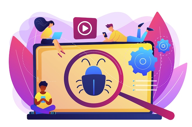 Tiny business people with digital devices testing demo software. beta testing, new product testing, presale user experience concept. bright vibrant violet  isolated illustration