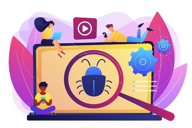 데모 소프트웨어를 테스트하는 디지털 장치를 가진 소규모 비즈니스 사람들. 베타 테스트, 신제품 테스트, 사전 판매 사용자 경험 개념. 밝고 활기찬 보라색 고립 된 그림