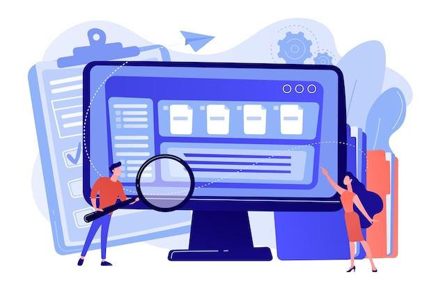 拡大鏡を持っている小さなビジネスマンは、コンピューターでドキュメント管理を行っています。ドキュメント管理ソフト、ドキュメントフローアプリ、複合ドキュメントの概念図