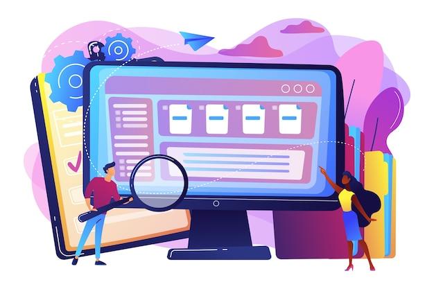 拡大鏡を持っている小さなビジネスマンは、コンピューターでドキュメント管理を行っています。ドキュメント管理ソフト、ドキュメントフローアプリ、複合ドキュメントコンセプト。