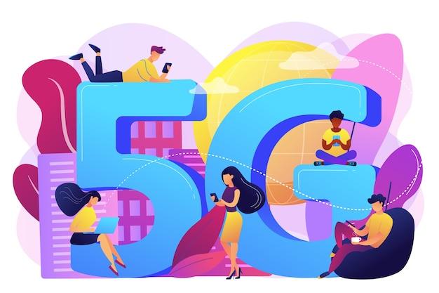 5gテクノロジーを使用したモバイルデバイスを使用する小さなビジネスマン。 5gネットワーク、次世代接続、最新のモバイル通信コンセプト。明るく鮮やかな紫の孤立したイラスト